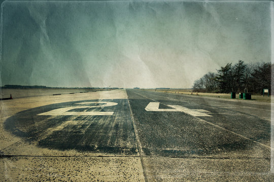 Runway at historic airfield in Brooklyn NY with textured effect