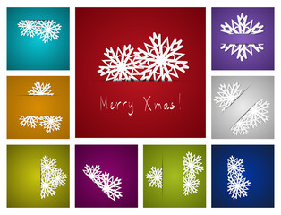 Set of snowflakes paper background