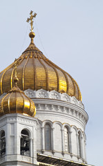 Golden cupolas Cathedral's of Christ the Savior, Moscow, Russia