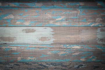 Aged blue and brown wood boards.