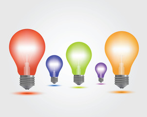 Vector Colorful Light Bulbs set