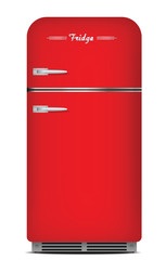 Red retro refrigerator. isolated on white
