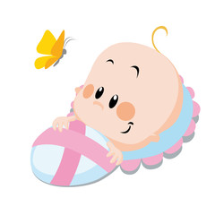 baby with butterfly