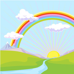 Canvas Prints River, lake landscape with rainbow