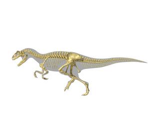 Allosaurus dinosaur silhouette with photo-realistic skeleton.