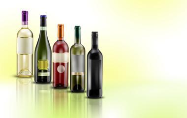 bottiglie di vino su sfondo pastello