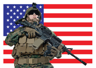 Fotorolgordijn Militair serving the nation