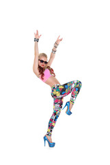 Cool dancer girl in sunglasses