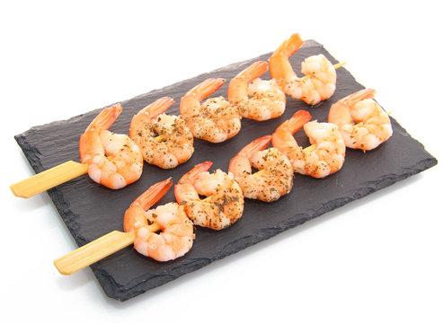 Brochettes crevettes