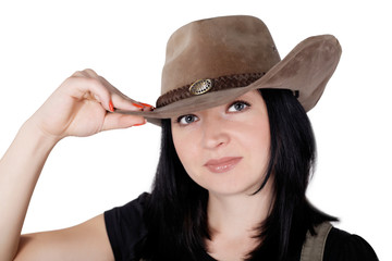 girl in a cowboy hat isolated
