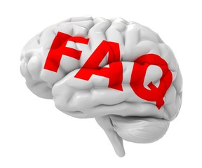 3d red FAQ text on the brain