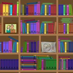 Bookshelves. Seamless texture.