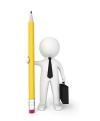 3d businessman with pencil