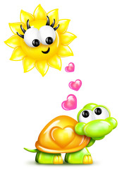 Whimsical Cartoon Turtle and Sun with Hearts