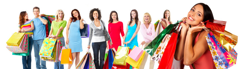 Group of beautiful shopping woman.