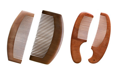 Wood combs isolated