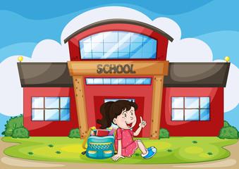 girl infront of school