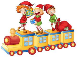 Foto auf Gartenposter Die magische Welt kids playing on train