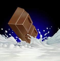 Chocolate block falling into a sea of milk.