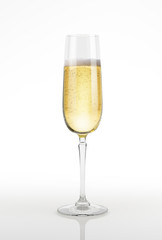 Champagne glass on white surface and background.