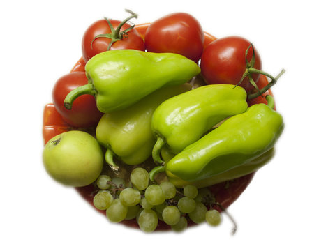 Fruits and vegetables on a dish