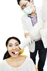 Dentist taking an X-ray