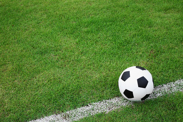 soccer  ball on white line.