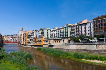 View from the bridge in Girona old town in Spain