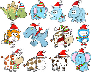 Cute Christmas Holiday Winter Animal Vector Set