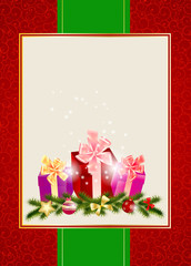 Abstract beauty Christmas and New Year invitation background. Ve