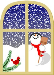 Snowman and cardinal behind window