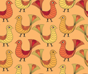 seamless pattern from birds in ethnic graphic style