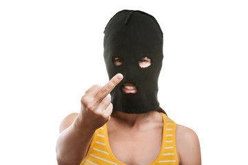 Woman in balaclava showing middle finger hand gesture