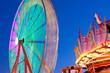 The Circular Motion Of A Ferris Wheel Blurs At Twilight
