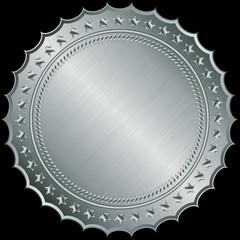 Silver blank label, vector illustration