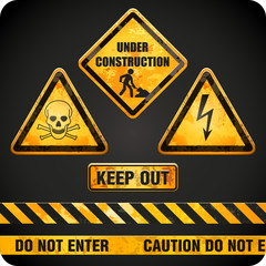 grungy danger signs