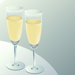 two goblets with wine on table