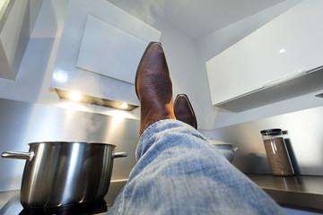 boots in kitchen