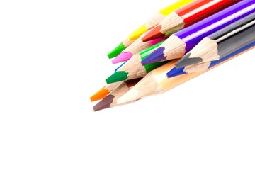 close up of colorful pencils with different color