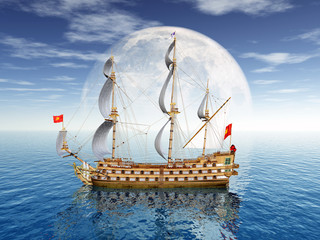Segelschiff vor einer Mondkulisse