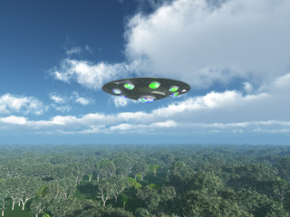 Alien Spacecraft over the Jungle
