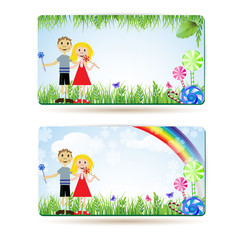 Children with candies , balloons and rainbow , banner