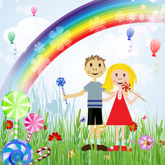 Children with candies , balloons and rainbow