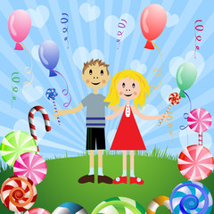 Children with candies , balloons and rays
