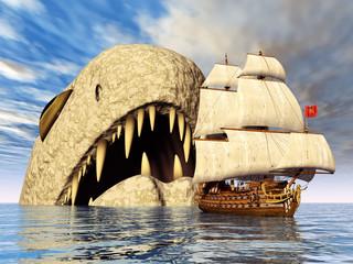 Seeungeheuer mit Segelschiff