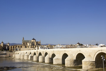 Cathedral and roman bridge. Cordoba