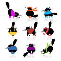 Funny black fat cats silhouettes in fashion clothes