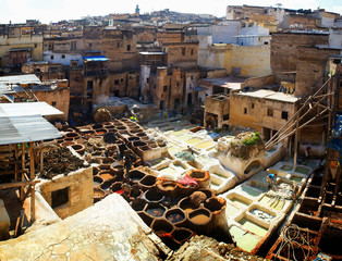 Dye reservoirs in tannery in Fes, Morocco