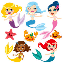 Photo sur Plexiglas Mermaid Cute Colorful Mermaids