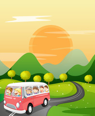 Printed roller blinds Cars kids in a bus